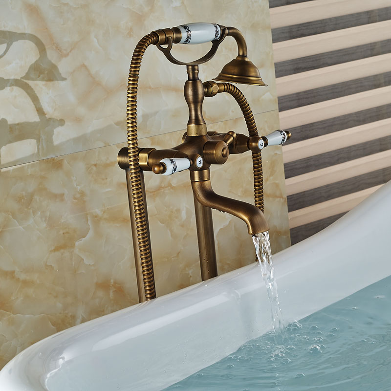 Dual-Handles-Bathroom-Floor-Mount-Freestanding-Bathtub-Filler-Bath-Tub-Faucet-Antique-Brass-Finish